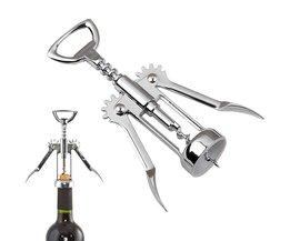 Aanbieding Rvs Wing Stijl Rode Wijn Corkscrew Fles Pull Opener Wijn Kurk Tool <br />  feiqiong
