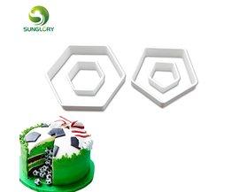 4 STKS/SET Hexagon Voetbal Cookie Cutter Plastic Voetbal Decoratie Snijders Sugarcraft Fondant Bakken Tools DIY Biscuit Cakevorm <br />  sunglory
