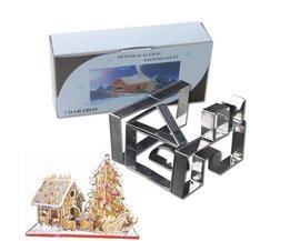 7 Stks Rvs Cookie Cutter Set 3D Peperkoek Huis Schimmel DIY Biscuit Mold Pastry Bakken Tools <br />  Kitstorm