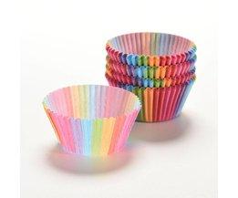Regenboog kleur 100 stks cupcakevoering bakken cupcake papier vormpjes taartdoos Cup lade cakevorm decorating gereedschap <br />  GCDHome