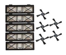 5 stks Ultra preformance Filter & 5 stks Side Borstel Vervanging voor Neato Botvac D Serie 945-0215 Filter 70e D75 D80 D85 <br />  YiJiA