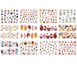 Nail 12 Sheets/Lot MT91-102 Kleurrijke Cake Cool Drink Ijs Nail Art Water Decal Sticker Voor Nail Art Tattoo Decoratie <br />  MouTeen