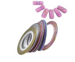 12 stks/partij 1mm 12 Kleuren Glitter Nail Striping Tape Line Voor Nagels DIY Decoratie Nail Art Stickers Beauty Accessoires BENC392 <br />  Ur Beautiful