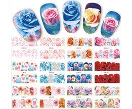 12 Ontwerpen/Sets Water Overdracht Mooie Rose Decals Volledige Decals Nail Sticker Gemengde Kleurrijke Bloem Nail Art DIY Decor BN553-564 <br />  Full Beauty