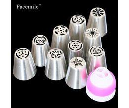 Fondant Decoratie Russische Icing Piping Tips Cake Gebak Decorating Nozzle Kit (10 STKS) 1 Koppeling 53033<br />  FACEMILE