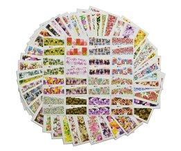 48 stks Mix Kleurrijke Volledige Nail Bloem Nail Art Water Transfer Sticker Nail Sticker Sets voor Gel Polish Manicure Decals TR # A049-096 <br />  Tracy Simple Nail