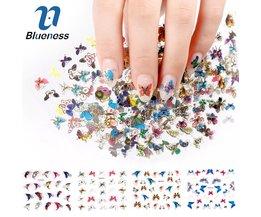 Blauwheid 3D Nail Sticker 24 Stks Grote Maat Vel Maan Vlinder Dier Patroon Voor Stempelen Charms Bronzing Nail Art Decals JH130 <br />  Blueness