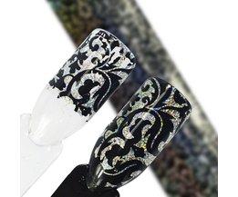 100*4 cm Bloemen Laser Nail Folie Holografische Sticker Patronen Transfer Voor Polish Lijm Nail Art Decoratie 3d Shiny Tips SAXK14  <br />  <br />  Sara Nail Salon