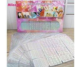 96 Ontwerpen/Pack Vierkante Holle Franse Stijl Template Nail Stickers, Onregelmatige Grid Stencil 3DNail Art ontwerp  <br />  <br />  Mileegirl