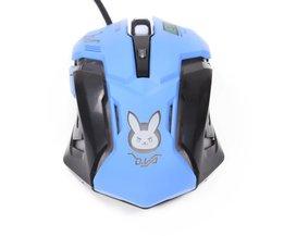 Heetste D. va Bunny Cosplay USB Bedrade Muis 2400 DPI 6 Knoppen optische Gaming Muis Flash Verlichting voor PC Laptop CF LOL Speler <br />  Kenting