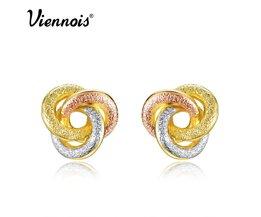 Mode-sieraden Goud & Zilver & Rose Goud Kleur Knoop Oorbellen voor Vrouw Triple Kleur Kleine Oorbellen <br />  Viennois