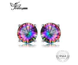 Natuurlijke Mystic Rainbow Topaz Oorbellen Stud Voor Meisjes Echt Pure Solid 925 Sterling Zilver RondeFashionGroothandel <br />  JewelryPalace