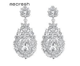 Mecresh Big Teardrop Crystal Bruiloft Lange Oorbellen voor Vrouwen Zilveren Kleur Bridal Pendantes Boucle D' Oreille Party Sieraden MEH729 <br />  mecresh