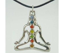 "15883 willekeurige strass legering dull zilver chakra hanger boeddha yoga meditatie crystal 17 ""ketting <br />  GLOWCAT"