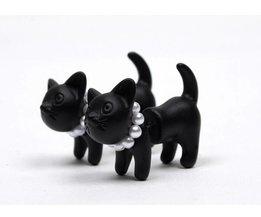 1 pair!!Cute Woman Lady Girl Black Cat Pearl Stud Earrings Puncture Ear JewelryE122 3g <br />  YIMLOI JEWELRY