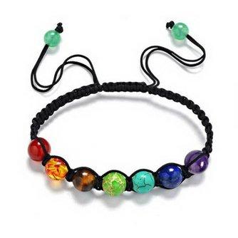 7 Chakra Armband Lederen Yoga Armband Kralen Armband Healing Balans Reiki Gebed Stenen Bangle Sieraden Accessoires Chain<br />  rinhoo