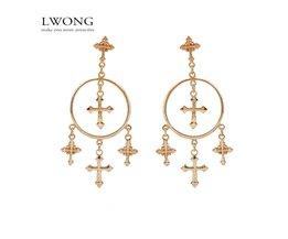 Mode Meerdere Cross Dangle Oorbellen Sieraden Vintage Gold Kleur Cross Kroonluchter Oorbellen voor Vrouwen Best<br />  LWONG