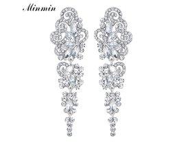 Minmin Zilveren Kleur Vlinder Kristallen Lange Oorbellen voor Vrouwen Bridal Wedding Dangle Oorbellen EngagementEH295 <br />  minmin