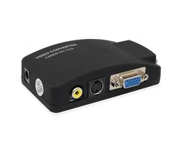 Groothandel PC Laptop Composiet Video TV RCA Composite S-Video AV In Naar PC VGA LCD Out Converter Adapter Switch Box zwart <br />  wiistar