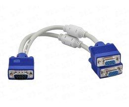 1 computer dual 2 monitor vga splitter kabel video Y splitter 15 pin twee poorten vga man-vrouw <br />  MyXL