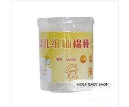 Groothandel 900 stks/partij baby katoen dubbel-end wattenstaafje dunne stok baby wattenstaafje 180 stks/kan baby katoen wattenstaafje kind met kan<br />  MyXL