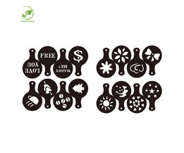 16 Stks Mold Koffie Melk Cake Cupcake Stencil Template Koffie Barista Cappuccino Template Strooi Pad Duster Spray Gereedschap Drinkware <br />  youe shone