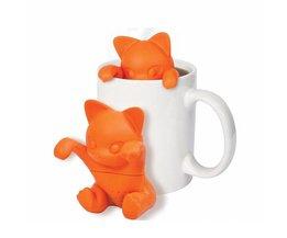 Creatieve Cartoon Kitten Theezeefje Siliconen Leuke Kat Thee-ei Mooie Oranje Kitten Siliconen Thee Gereedschap <br />  WOWCC