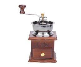 Antieke Hand Koffiemolen Hout Stand Metalen Kom Koffieboon Mill Muller Drinken Koffie Thee Set Cafe Bar Accessoires <br />  VKTECH