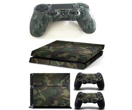 Camouflage camo silicone rubber zachte mouwen skin grip cover case protector + vinyl patroon skin sticker voor playstation 4 ps4 ps 4 <br />  MyXL