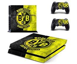 Borussia Dortmund BVB 1909 Voetbal Team PS4 Skin Sticker Sticker Voor Sony PS4 PlayStation 4 Console en 2 Controllers Stickers  <br />  <br />  Yolouxiku