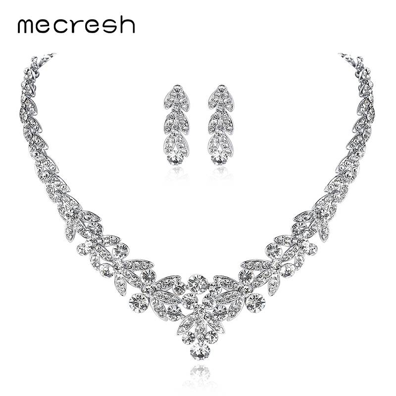 Favoriete Mecresh Zilver-kleur Kristal Bruids Sieraden Sets Bladvorm Choker &MO03