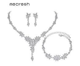 Mecresh Leaf Crystal Bruiloft Sieraden Sets voor Vrouwen Zilveren Kleur Strass Bridal Ketting Earring Sets Sieraden MTL433 + MSL204 <br />  mecresh
