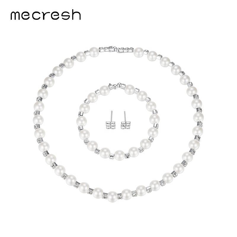 Onwijs Mecresh Gesimuleerde Parel Bruids Sieraden Sets Kristal Choker RW-68