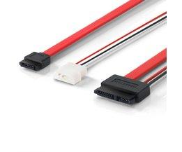ULT-Beste 30 cm Slimline SATA Kabels SATA Voedingskabel naar Molex Slim SATA 13 pin (7 P + 6 P) naar 7pin + Power cable1FT/12 INCH <br />  ULT-BEST