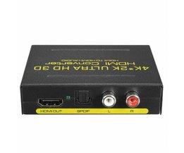 US EU Plug 4 K x 2 K Audio Converter Extract Splitter HDMI SPDIF RCA Stereo L/R Analoge Audio Converter Power Adapter <br />  LEORY