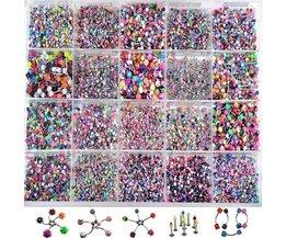 110 Stks Acryl Rvs Mix Wenkbrauw Belly Lip Tong Bar Ringen Neus Hoop Ring Piercing Sieraden Barbell Body sieraden <br />  Shellhard