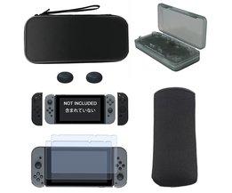NS 6 in 1 Kit Draagkoffer + Soft Carry Bag + Silicon Case + Duimgrepen Caps + gehard Glas Film voor Nintendo Schakelaar <br />  LINGHUANG