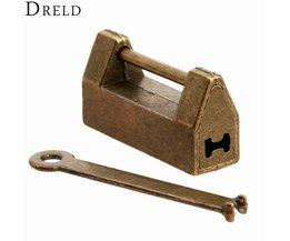 1 St Vintage Antieke Ijzeren Chinese Oude Lock Retro Messingshangslot sieraden Houten Doos Hangslot Lock voor Koffer Ladeblok + sleutel <br />  MyXL