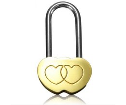 1 STHangslot Liefde Lock Gegraveerde Dubbele Hart Valentines Anniversary Dag Geschenken <br />  SOLUTIONL
