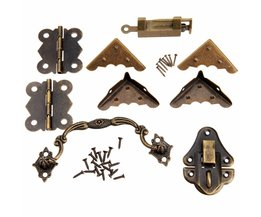 9 Stks Chinese Messing Hardware Set Antieke Houten Doos Klink Hasp + Pull Handvat + Scharnieren + Hoek Protector + oude Lock Meubels Accessoires <br />  DRELD