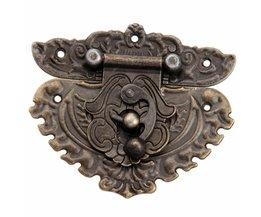 1 St 86x75mm Antiek Brons Iron Klink Decoratieve SieradenWijn Houten Koffer Case Hasp Klink haak Met Schroeven <br />  DRELD