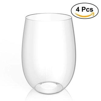4 stks Onbreekbaar Plastic Wijnglas PCTG Rode Wijn Tumbler Glazen Cups (Transparant)