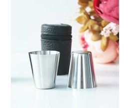 4 stks/set Gepolijst Mini 30 ml Rvs Wijn Drinken Borrelglaasjes Bar Cup Hoge Kwaliteit
