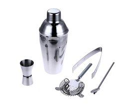 5 Stks/set 550 ml Rvs Cocktail Shaker Mixer Barman Kit Set Zeef Ijs Tang Menglepel Meet Cup Bar Tool Kit