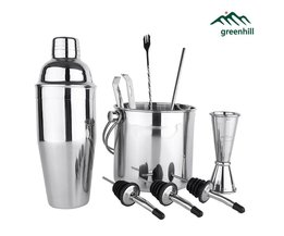 Greenhill 9 Stuks Bar Set/Cocktail shaker set inclusief shaker/Emmer/Tong/Jigger/Lepel/stro