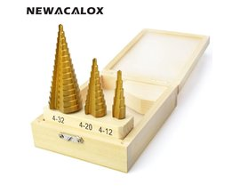 Grote Stap Cone HSS Staal Spiraal Gegroefde Stap Boor Hole Cutter Cut Tool 4-12/20/32mm met Hout Box 3 stks/set <br />  newacalox