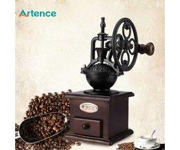Reuzenrad Ontwerp Vintage Handkoffiemolen Met Keramische Beweging Retro Houten Koffie Molen Voor Woondecoratie <br />  Artence