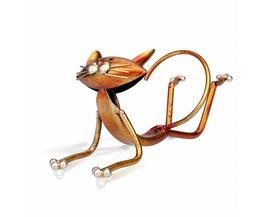 Yoga Kat Wijnrek Metalen Houder Wijn Plank Sculptuur Praktische Sculptuur Woondecoratie Interieur Wijn stand Ambachten <br />  Tooarts