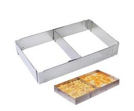 1 Stks Bakvorm Verstelbare Rvs GereedschapPop Mousse Ring Oven RechthoekKeuken Cake <br />  YAS
