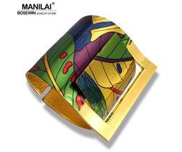 Land Stijl Schilderen Ontwerp Geopend Grote Manchet Armband Voor VrouwenKostuum Sieraden<br />  MANILAI